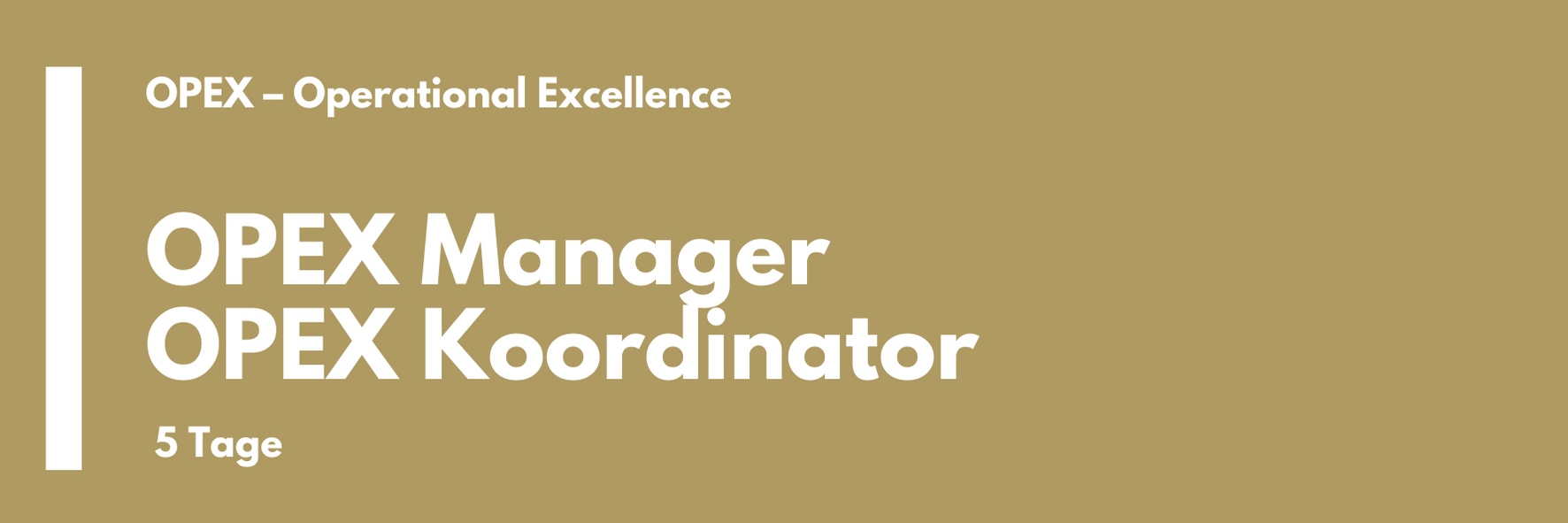 OPEX Manager   OPEX Koordinator